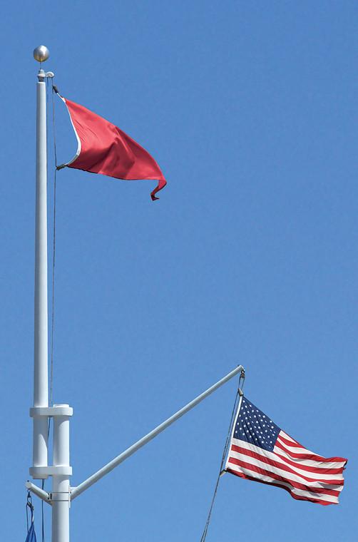 Double Mast Nautical Flagpole with Yardarm & Gaff