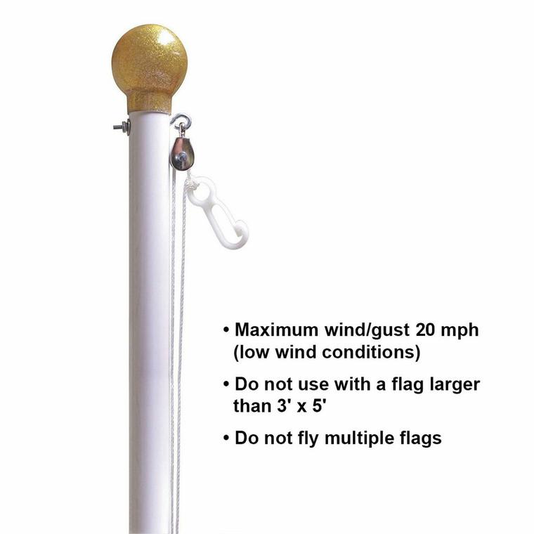 White Titan Steel Flagpole
