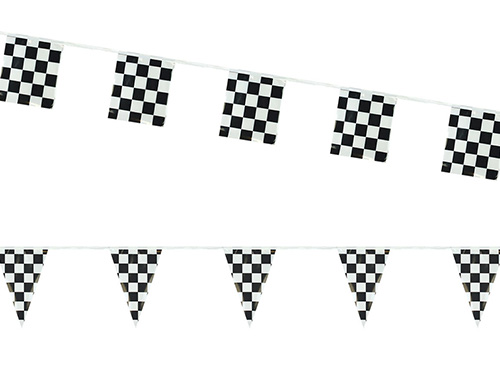Black & White Checkered Poly Pennant Strings