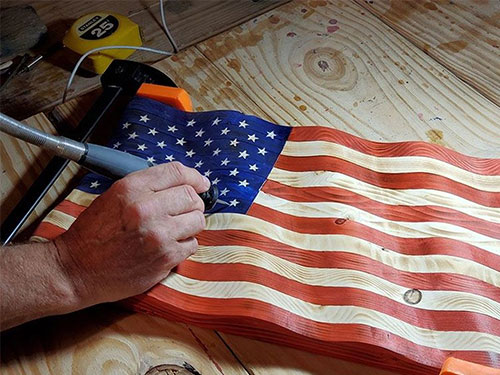 Wooden American Flag Sculptures