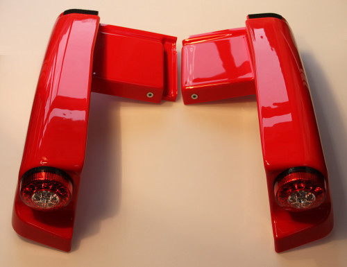 Rear cover DXP left and right pre-assembled with LED KYBURZ red