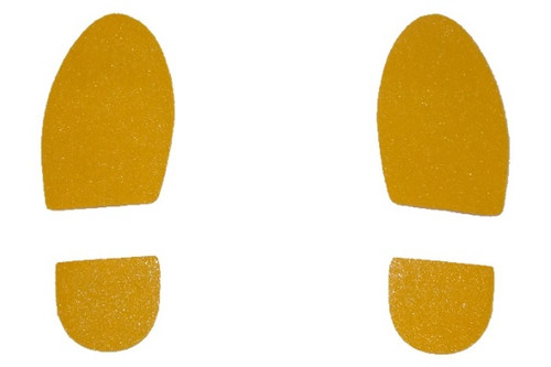 Set of self-adhesive yellow safety feet, left and right