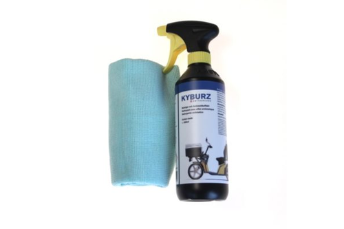 KYBURZ-branded cleaning solution 500ml, incl. microfiber towel