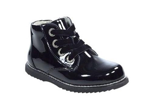 Lelli Kelly Camille Black Patent Velvet Lace & Zip Boots