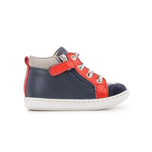 Shoopom Bouba Bi Zip Navy, Red & Grey Leather & Suede Boot