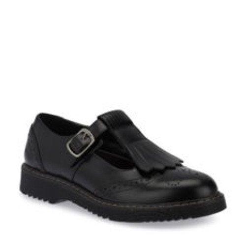 Angry Angels March (M) Black Leather T-Bar Fringe Brogue Shoe