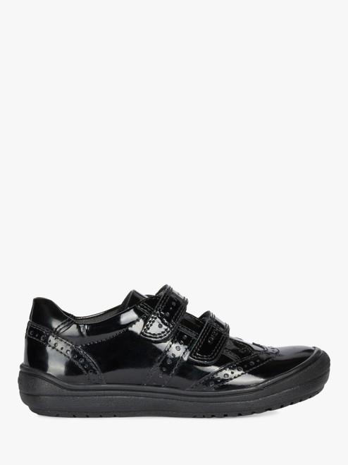 Geox Hadriel Black Patent Rip Tape Full Shoe