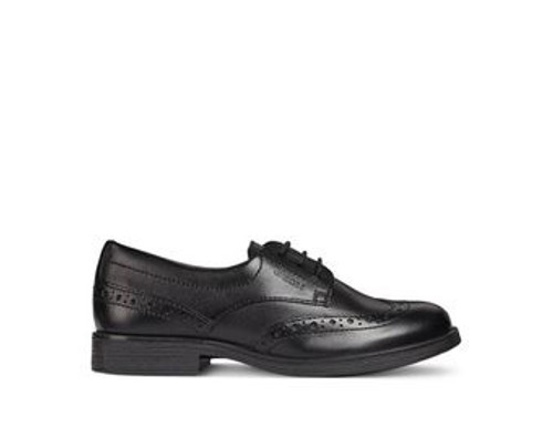 Geox Agata D Black Leather Lace Up Brogue