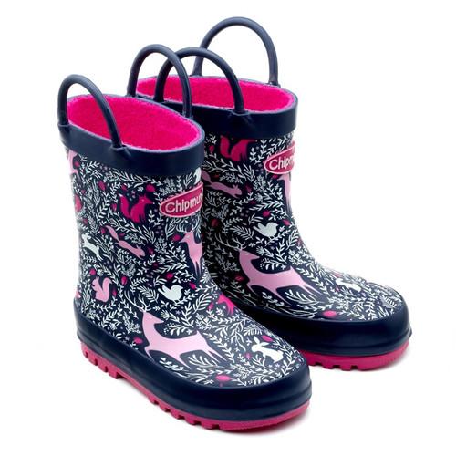 Chipmunks Woodland Navy & Pink Wellies