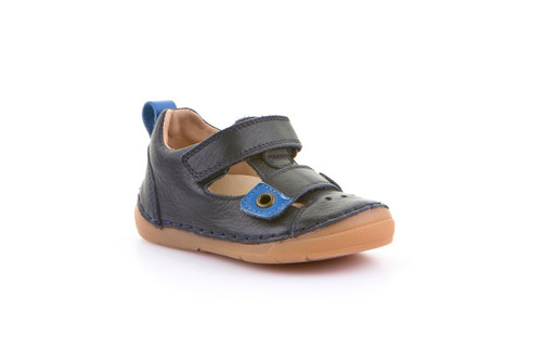 Froddo Navy Blue & Cobalt Rip Tape Adjustable T-Bar Shoe with Rubber Toe
