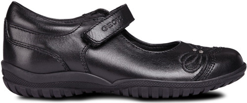 Geox Shadow C Black Leather Shoe with Diamante Trim Embroidered Bow