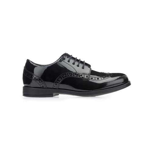 Start-rite Brogue Senior Black (E) Patent Shoes