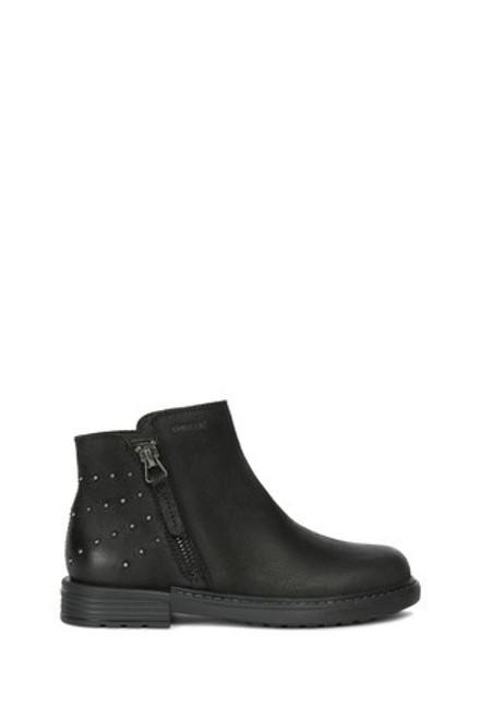 Geox Eclair Black Stud Heel Waxed Nubuck Ankle Boot
