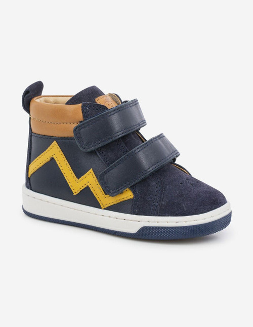 Shoo Pom Dude Scratch Navy & Yellow Rip Tape Boot