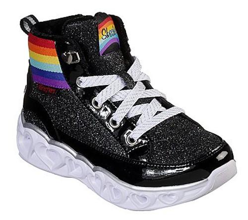 Skechers Heart Lights Rainbow Diva Black Light Up Lace & Zip Hi Top Trainers