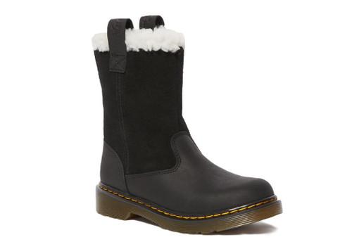 Dr Martens Juney Junior Republic Black & High Suede Waterproof Boot