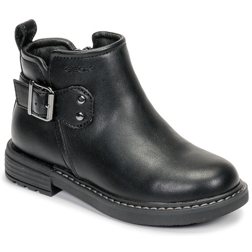 Geox Eclair D Black Buckle Strap Short Ankle Boot