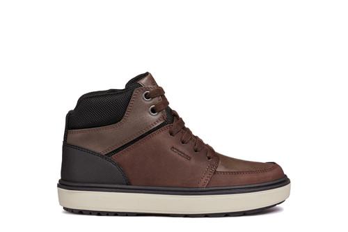 Geox Mattias B Coffee Brown & Black Amphibiox Waxed Leather Zip & Lace Boot