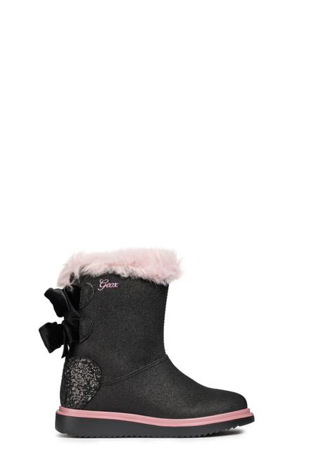 Geox Thymar Black Glitter Faux Suede Breathable Pull On Bow Back Boots