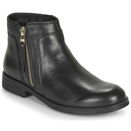 Geox Agata Black Leather Boot with Gold Zip Detail