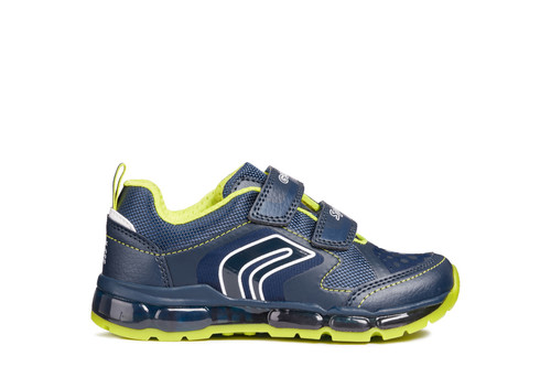 Geox Android Navy & Lime Flashing Lights Trainer
