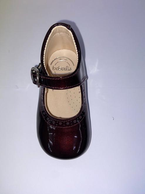 Beberlis Burgundy Metallic Patent Buckle Fastening Toddler Shoe