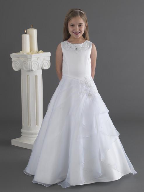 Little White Collection Dress 7 Organza Overlay Jewel Waist Dress