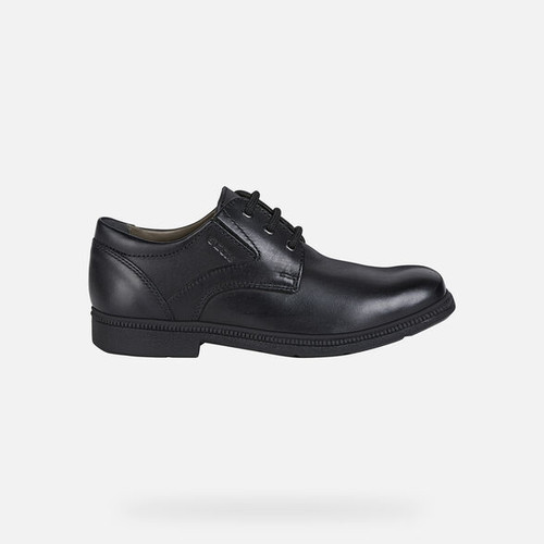 Geox Federico H Black Leather Lace Shoe