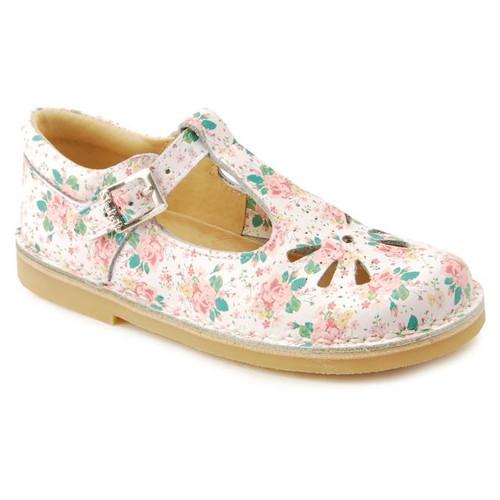 Startrite Lottie White Floral Classic Daisy Sandal Style Buckle Shoe