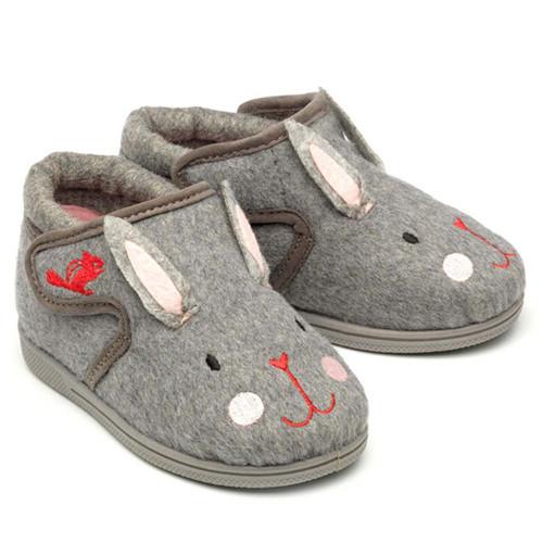 Chipmunks Katie Grey Rabbit Slippers