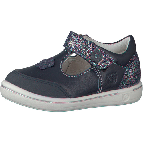 Ricosta Mandy Nautic & Glitter Navy Flower T-Bar Scuff Toe Shoe