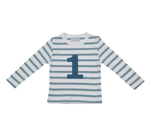 Bob & Blossom Ocean Blue & White Breton Stripe Number Tee