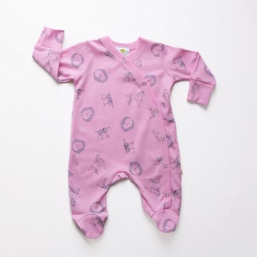 Baby Acorn Pink Woodland Sunshine Print Babygro