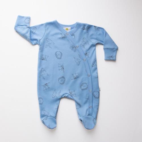 Baby Acorn Blue Woodland Sunshine Print Babygro
