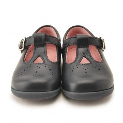 Sandalette III Navy (E) Leather T-Bar Buckle Shoe