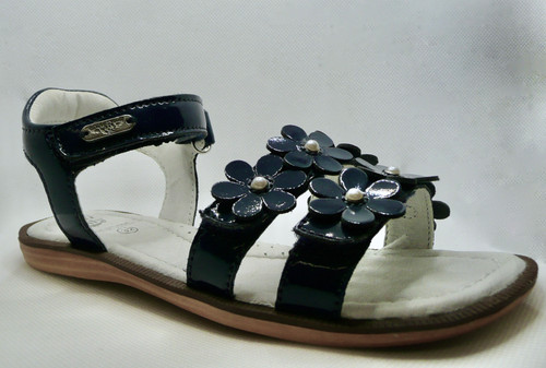 Lelli Kelly Alia Navy Patent & Pearl Flower Sandal With Adjustable Front & Ankle Strap
