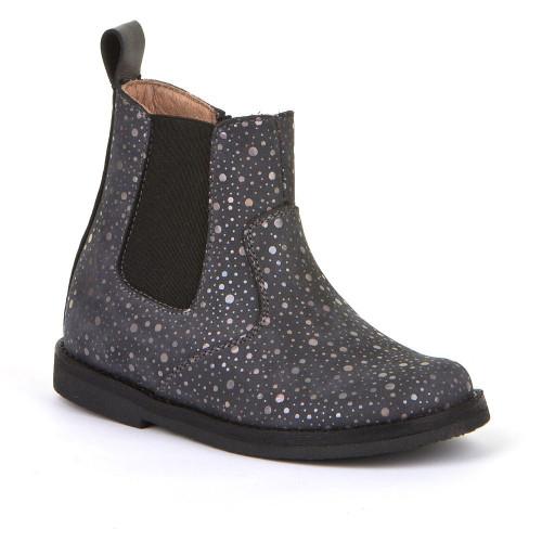 Froddo Charcoal Nubuck Leather Metallic Printed Chelsea Boot