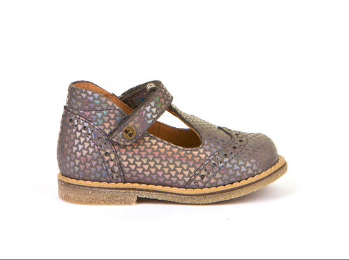 Froddo Grey & Metallic Leather T-Bar Shoe