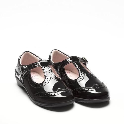 Lelli Kelly Jeanette Buckle Brogue T-Bar Black Patent Shoe