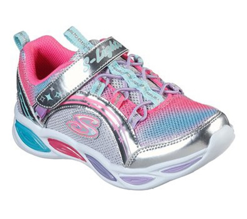 Skechers S-Lights Shimmer Beams Silver Rip Tape & Bungee Cord Trainers