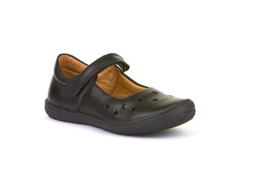 Froddo Black Leather Star Rubber Toe School Shoe