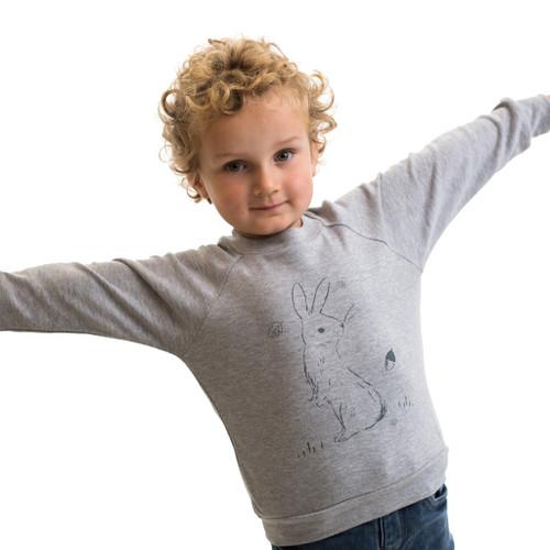 Baby Acorn Sketched Bunnies Grey Lightweight Sweatshirt