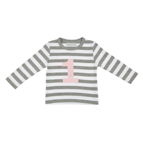 Bob & Blossom Grey Marl & White Striped Mallow Pink Number T-Shirt