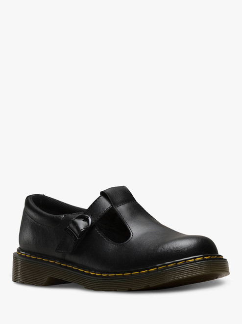 Dr Martens Polley Youth Black Patent Leather T-Bar Shoe