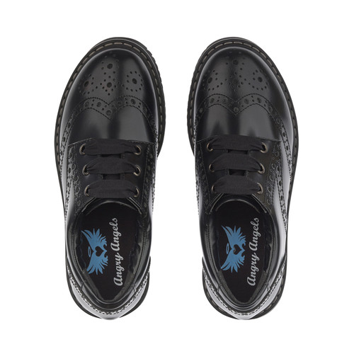 Angry Angels Impulsive (W) Blk Leather Lace Brogue