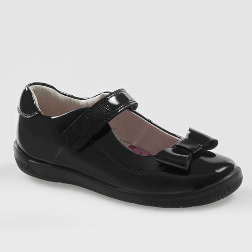 LK Elsa (F) Rubber Toe Black PATENT Bow Shoe