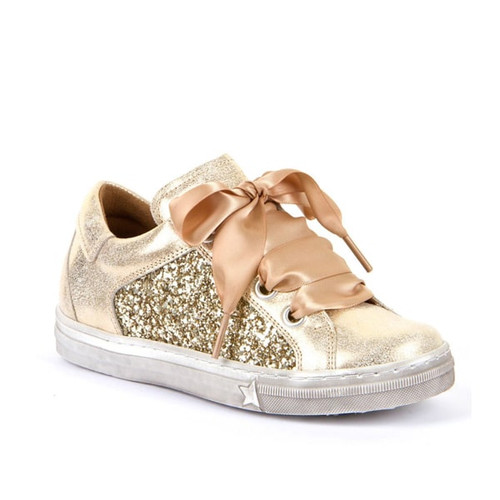 Froddo Gold Lace & Zip Sparkle Ribbon Leather Shoe