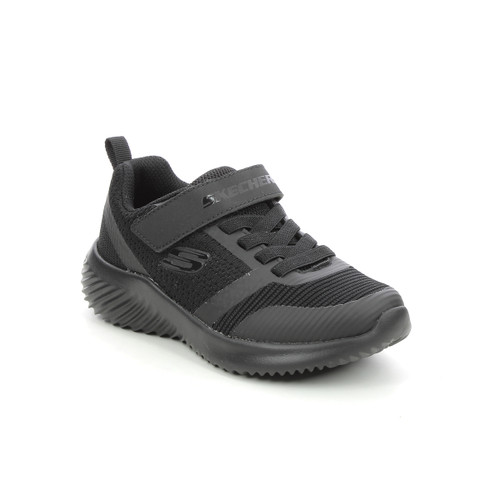 Skechers Bounder Zallow Black Bungee Cord Rip Tape Trainers