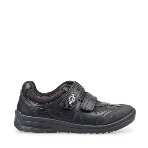 Start-Rite Rocket (H) Black Leather Scuff Toe School Shoe