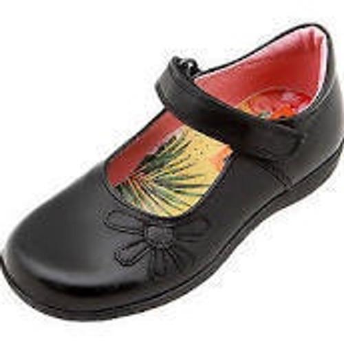 Petasil Bonnie D Fitting Black Leather Shoe